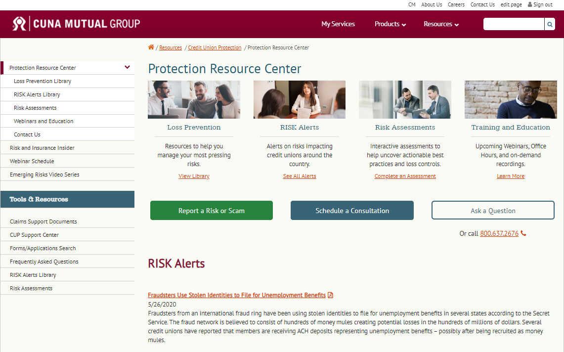 protection resource webpage screenshot